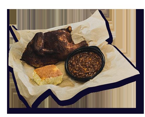 Betty Kaye's Smokehouse Half Chicken Combo